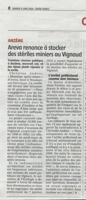 Article La Montagne 04.06.16