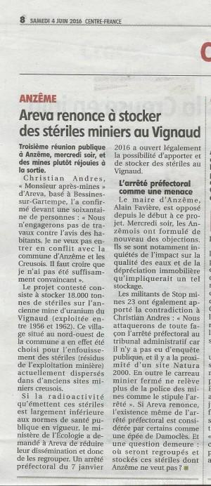 Article La Montagne 04.06.16