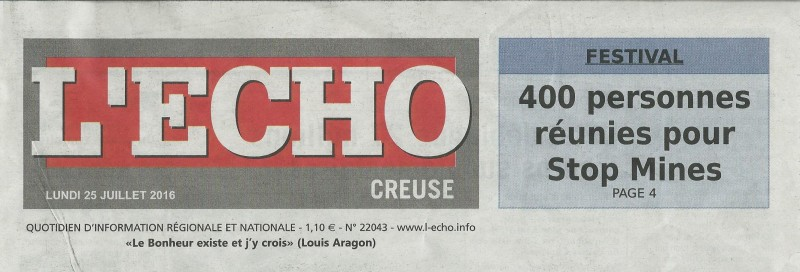 Article L'ECHO lundi 25 juillet 2016