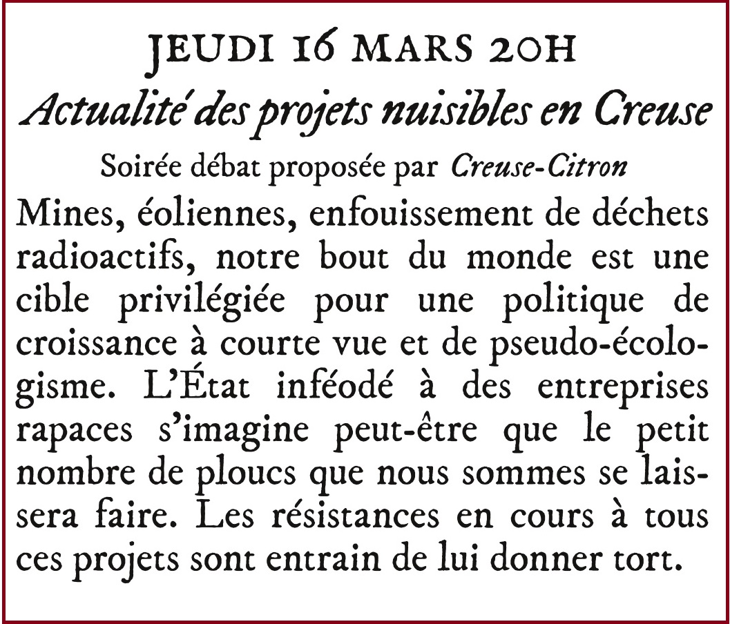 16 mars - projets nuisibles